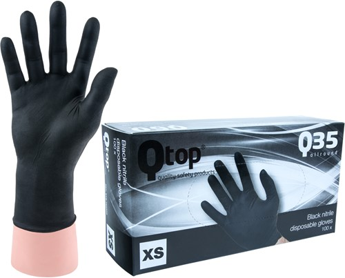 Qtop Q35 Zwarte Nitril Handschoenen - 6/xs