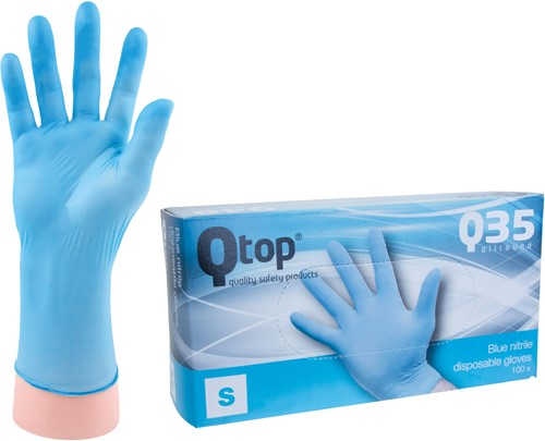 Qtop Q35 Blauwe Nitril Handschoenen - 7/s