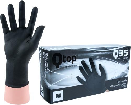 Qtop Q35 Zwarte Nitril Handschoenen - 8/m